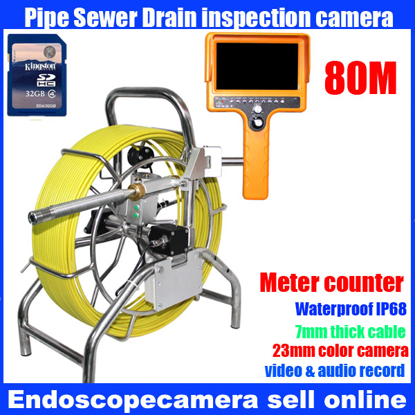 80m DVR Meter counter Wall Borescope Endoscope, 80m DVR Meter counter Drain Pipe Sewer Inspection Video Camera with 23mm camera drain sewer wall cave pipe inspection dvr camera pipe endoscope borescope 20m 50m cable pipeline sewage snake camera