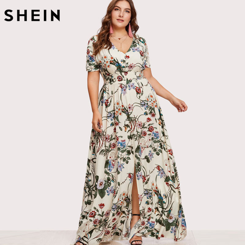 SHEIN Floreale Plus Size Women Dress Bianco Slit Button Up Front Maxi Vestiti Grandi Dimensioni Una Linea Casual v-Collo della Stampa Vestito Da Estate