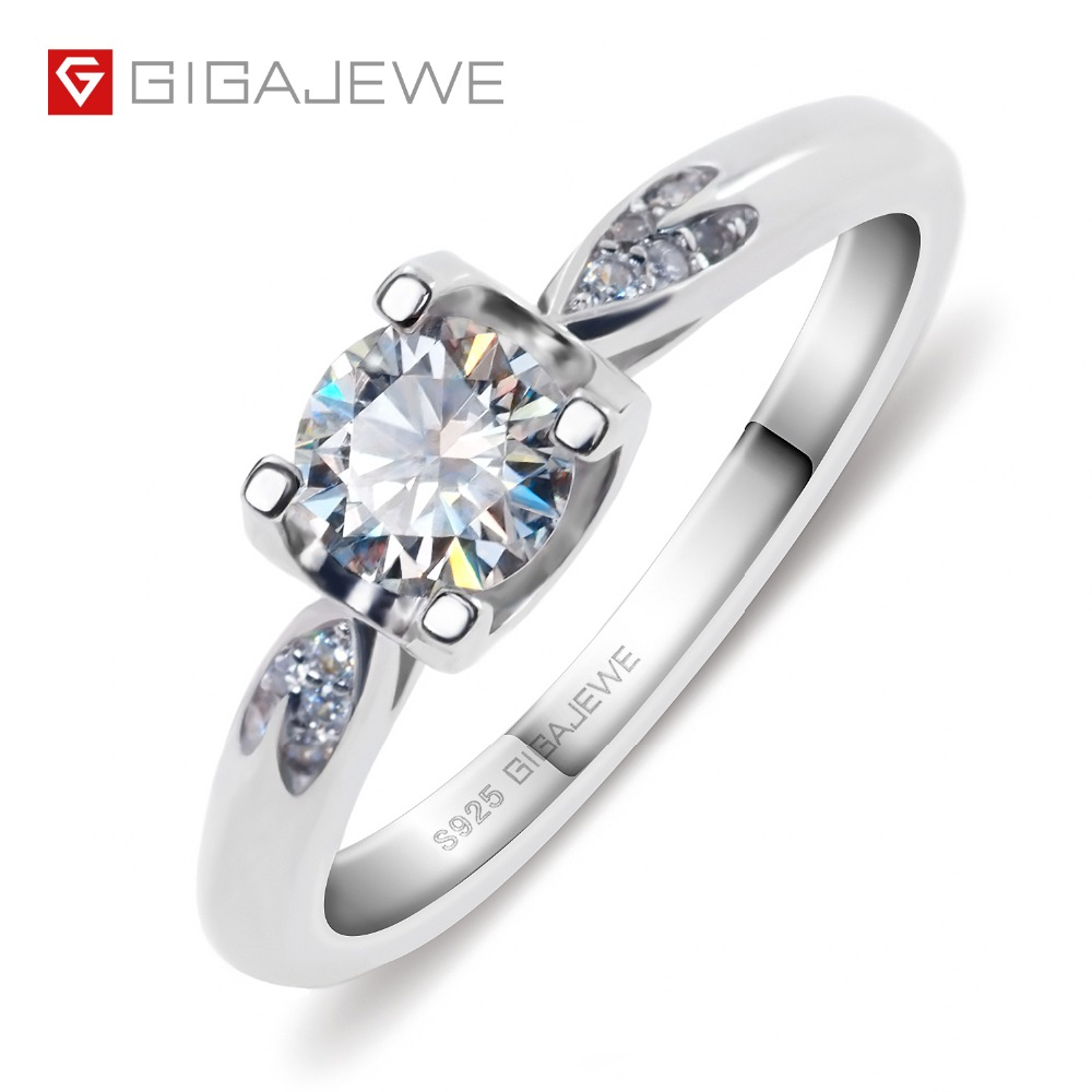 GIGAJEWE Moissanite Ring 0 5ct VVS1 Round Cut F Color Lab Diamond 925 Silver Jewelry Love