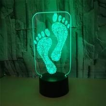 Hot 3D Pegadas Illusion Night Light USB Acrílico Toque Remoto 7 Cor Gradiente de Charing LED Quarto Interior Lâmpada Atmosfera