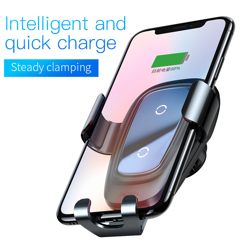 Baseus Car Phone Holder Qi Fast Wireless Charger for iPhone X Max 4-6.5 Inch Mobile Phone Stand Air Outlet Gravity Auto Bracket