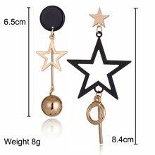 XIYANIKE New Geometry Asymmetry Five-pointed Star Metal Tassel Drop Earrings For Women Gifts Fashion Jewelry Accessories E136