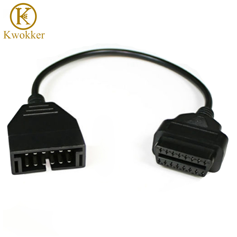 KWOKKER OBD OBD2 Connector Cable For g-m 12 Pin Male to 16 Pin Female OBD 2 for Vehicle CNP Diagnostic Extension Cable 16 Pin