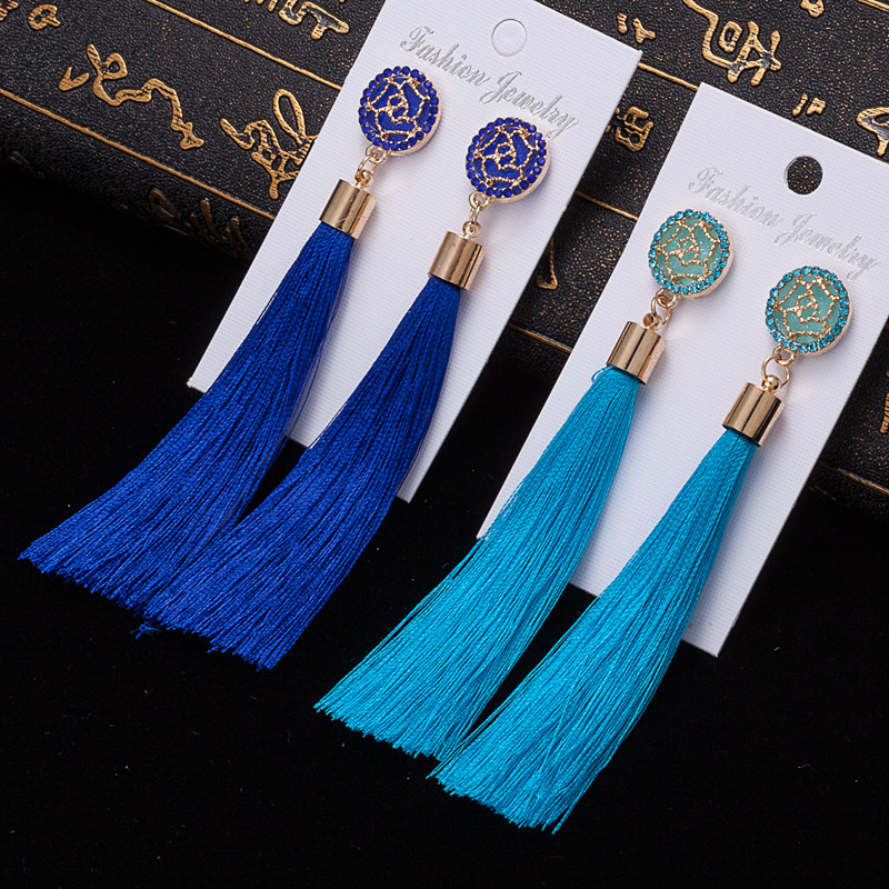 HTB1mR5CV3HqK1RjSZFkq6x.WFXaU - HOCOLE Bohemian Crystal Tassel Earrings Black White Blue Red Pink Silk Fabric Long Drop Dangle Tassel Earrings For Women Jewelry