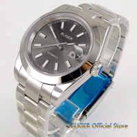 Fashional 40mm grey / black dial self winding men's watch saphire glass 21 jewels MIYOTA 8215 Automatic men timewatch