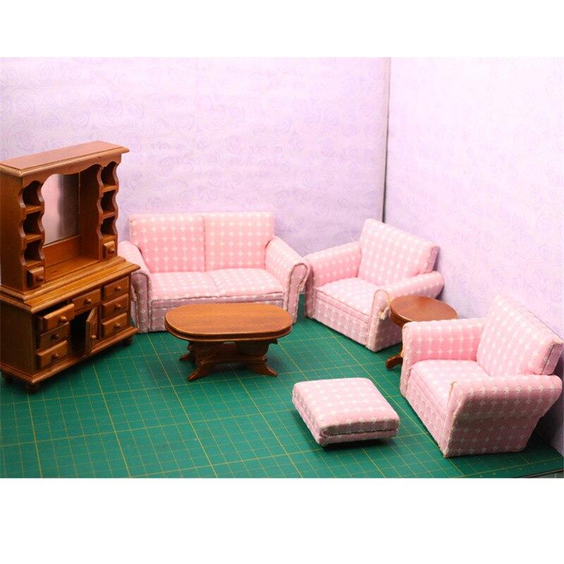 Doub K mini Furniture toy Wooden Doll Miniature living room Sofa ...