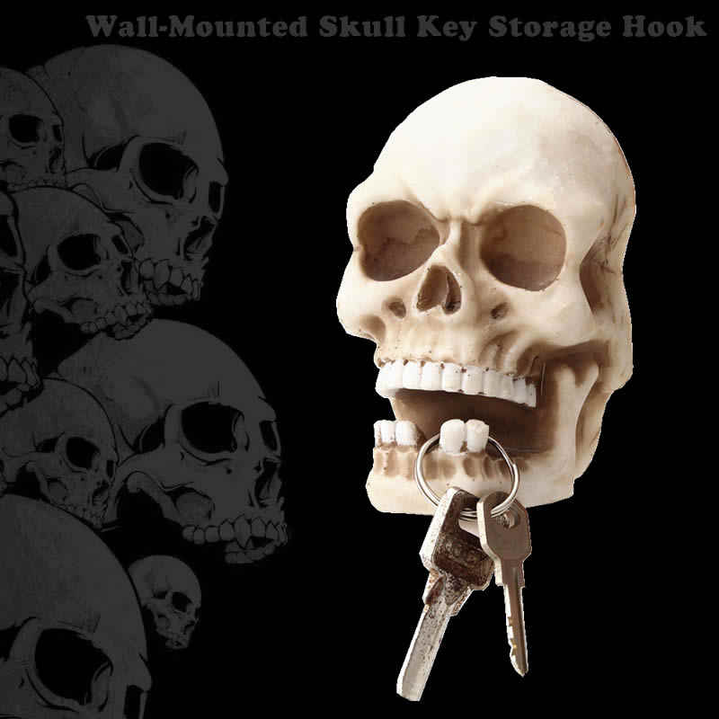 Creative Skull Sculpture Key Storage Hook Wall Mount Resin Skeleton Desk Ornament Statue For Funny Gift Halloween Party Decor