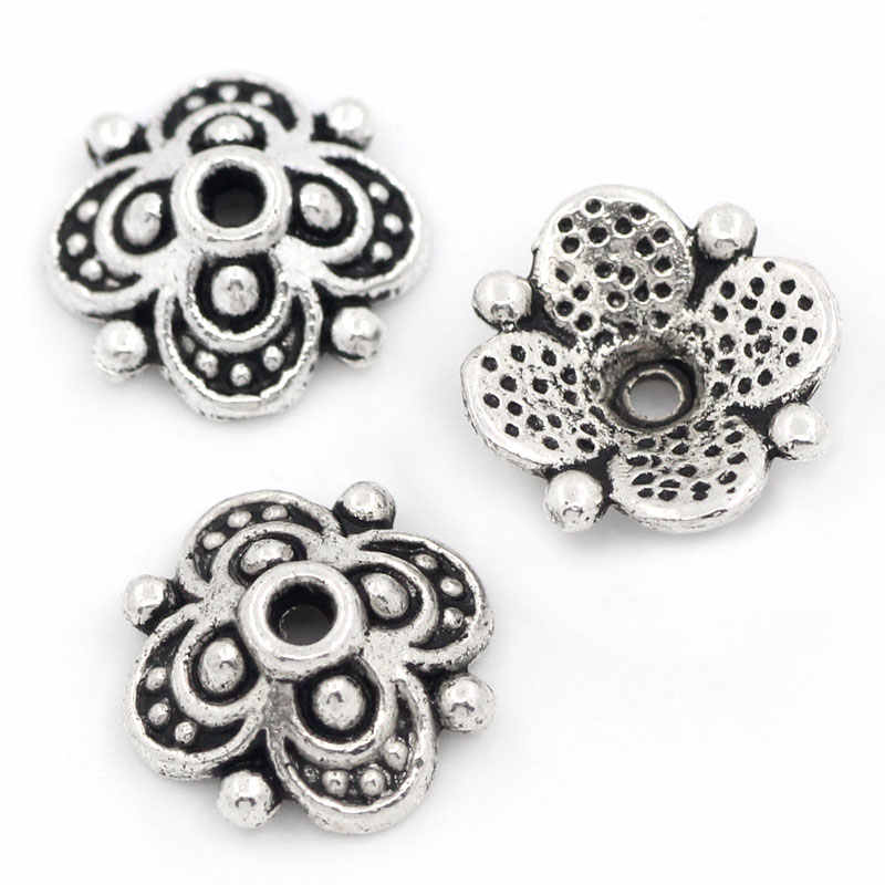 LASPERAL 100PCs  Four Flower Antique Silver Beads Caps Jewelry Findings Engraved For Jewelry Making Accessories 10mmx10mm