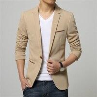 Cộng với Kích Thước 5XL 2017 Bán Hot Hàn Quốc Phong Cách Kaki Linen Phù Hợp Với Blazer Men Phù Hợp Với Áo Khoác Giải Trí Slim Fit Blazer Suits Giá Rẻ cho người đàn ông