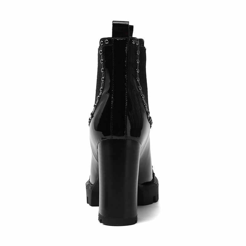 MORAZORA hakiki deri çizmeler kadınlar yüksek topuklu platform çizmeler perçinler punk sonbahar kış ayakkabı yarım çizmeler kadın 2020 yeni