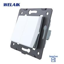 WELAIK EU настенный выключатель-diy части-кнопочный 2gan2way-переключатель DIY-части настенный светильник-переключатель Кристалл-стекло-панель AC110-250V A722W/B