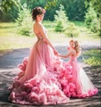 Pink Girls Ball Gown Kids Prom Dress Cloud Ruffles Pageant Dress For Little Girls Beaded Holy Communion Dresses Vestidos Primera