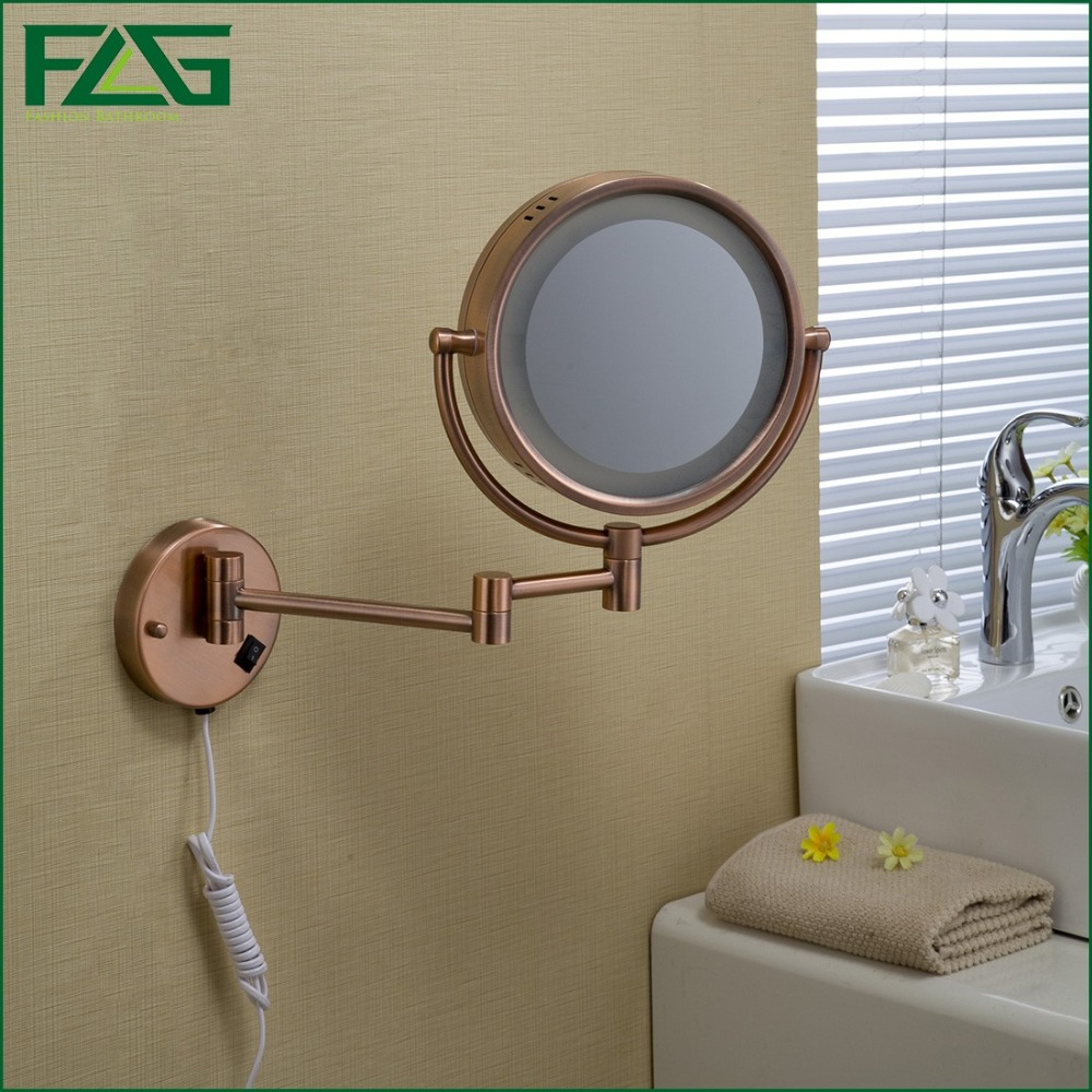 FLG Bathroom Cosmetic Mirror Rose Gold LED Light Makeup Mirrors 8.5 Round Dual Sides 3X/1X Wall Mounted Magnifying Mirror JZ017 large 8 inch fashion high definition desktop makeup mirror 2 face metal bathroom mirror 3x magnifying round pin 360 rotating