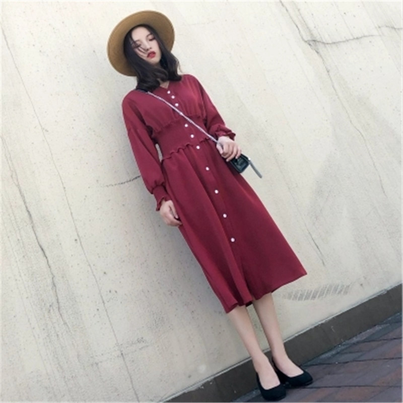 2018 Autumn women's dress new spring and autumn long sleeved dress lean waist retro red dress-in Dresses from Women's Clothing    3