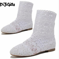 NEW ARRIVAL Free Shipping High Quality Knitting Hollow Out Summer Boots 12 Colors US 4 10