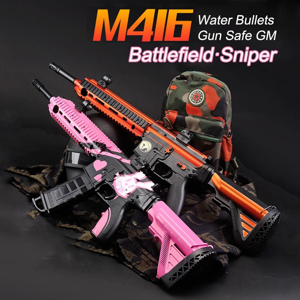 Outdoor Toys Plastic Gun M416 Electric Burst Soft Water Bullets Air Airgun Gel Ball Gun Sniper Boys Toy Birthday Gifts