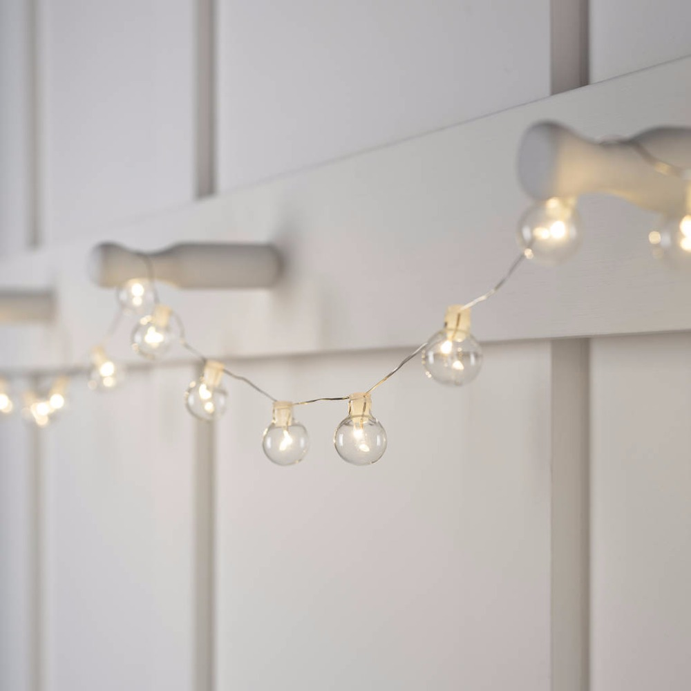 Globe LED Fairy lights Warm White Silver wire Battery Bulb string ...