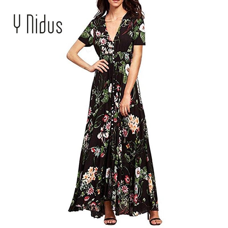 77b898bcc8d41 Y Nidus Women's Summer Dresses 2018 Maxi Sundress Button Up Split Floral  Print Flowy Long Evening Party Dresses vestidos