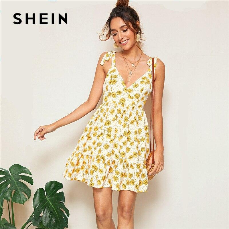 557c6ad8628e SHEIN Self Shoulder Plunging Neck Open Back Sexy Dress Women Boho Beach  Sleeveless Ruffle Hem Summer