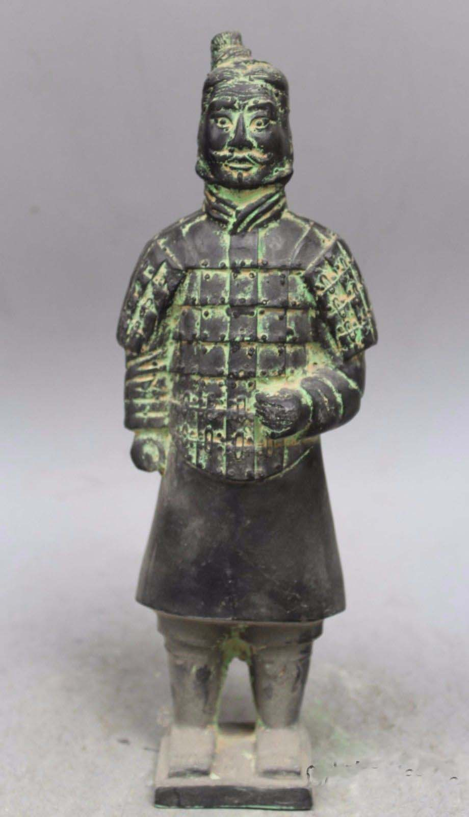 China bronze carved finely three terracotta warrior Sculpture statuesChina bronze carved finely three terracotta warrior Sculpture statues