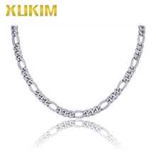 Xukim Jewelry IOC001 18 inch AAA Zircon Iced Out Gold Figaro Chain 24inch