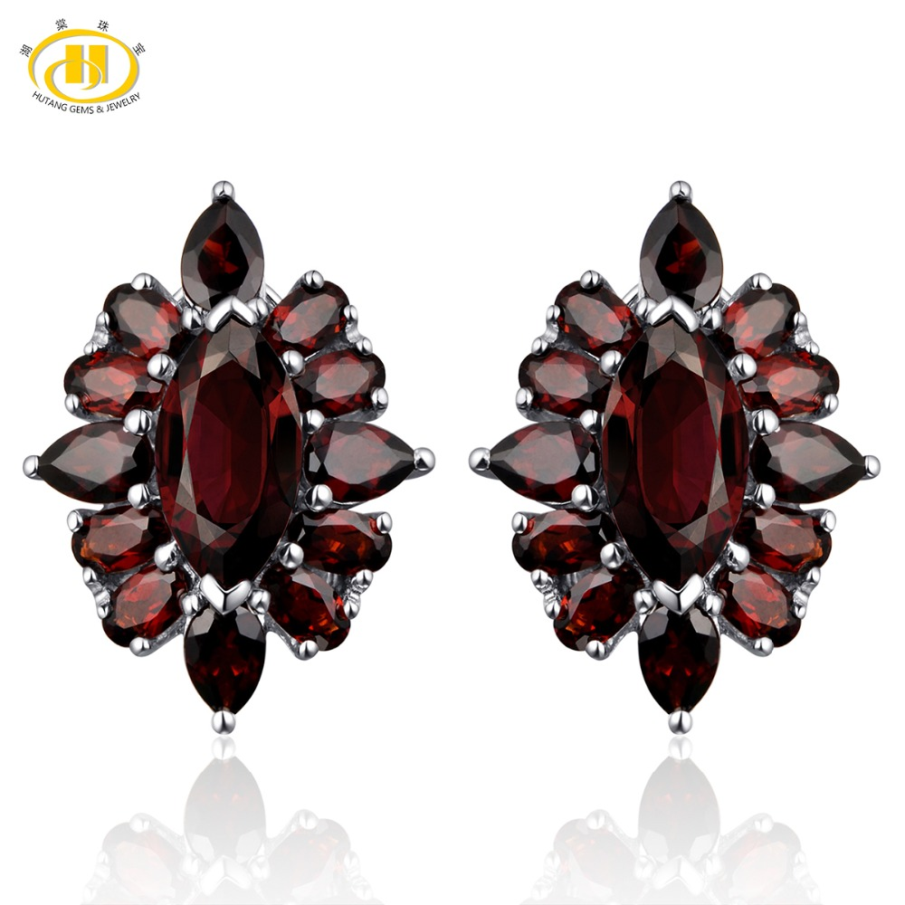 Hutang Red Garnet Clip Earrings 14.5ct Natural Gemstone Solid 925 Sterling Silver Fine Fashion Stone Jewelry Best Gift Christmas