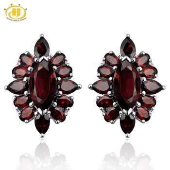 Hutang Red Garnet Clip Earrings 14.5ct Natural Gemstone Solid 925 Sterling Silver Fine Fashion Stone Jewelry Best Gift Christmas - DISCOUNT ITEM  17% OFF All Category