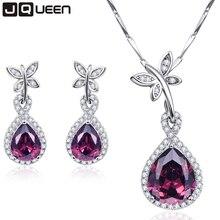 JQUEEN Water Drop 925 Sterling Silver Garnet White Topaz Jewelry Sets Earrings/Pendant/Necklace For Women Free Gift Box