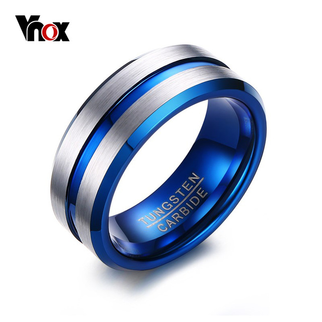 Vnox Thin Blue Line Tungsten Ring Wedding Brands 8mm Carbide Rings For Men Jewelry