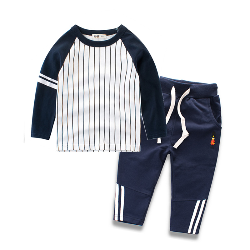 2018 Boys Clothing Set Autumn Spring Cotton Long Sleeve Stripe T-Shirts and Pants Children Tracksuits 2-8y Baby Boys Clothes mother nest 3sets lot wholesale autumn toddle girl long sleeve baby clothing one piece boys baby pajamas infant clothes rompers