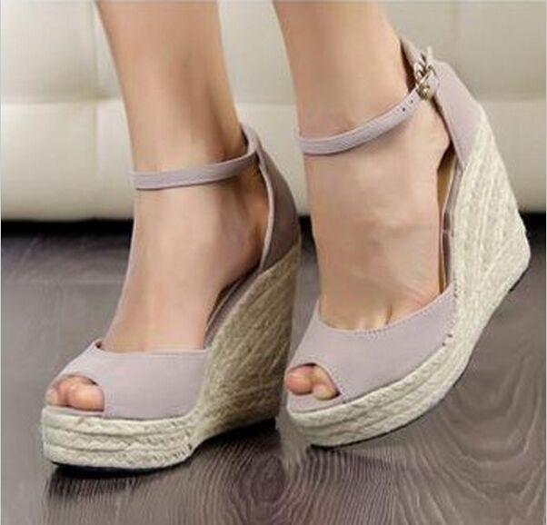 Женская обувь сандалии элегантные клинья сандалии на высоких каблуках платформы клинья сандалии женщины платформа высокий каблук сандалии Большой размер