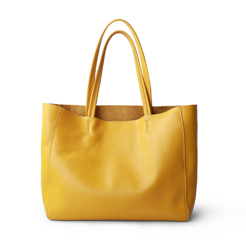 Women Luxury Bag Casual Tote Female Lemon Yellow Fashion Shoulder Handbag Lady Cowhide Genuine Leather Shoulder Shopping Bag(China)