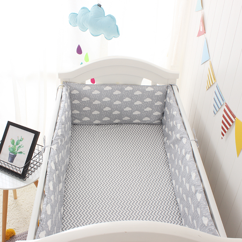 Hot Cloud Printed Baby Bedding Set Children Crib Bedding Set Newborn Crib Bed Clothes Crib Bumper Nordic Style Baby Bedding 3pcs ins style baby bed set fun wave point plaid crib bedding 100
