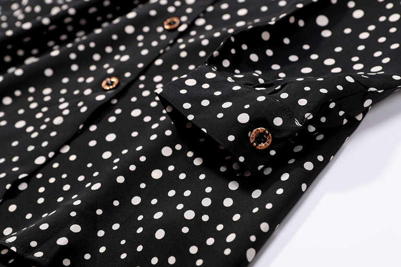 fa55ed67a5f7bd ... 100% natural silk Blouses OL Black Dots Long Sleeve Real Silk Blouse  bussiness shirt for ...