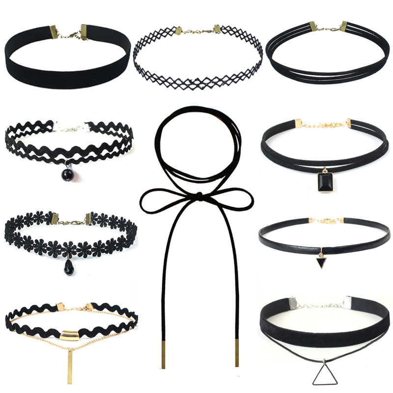 2018 New hollow Designs Velvet Chokers Necklace Black Leather Rope Chain layer Chocker Vintage Jewelry for women Collier femme