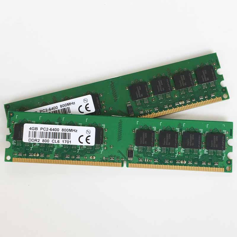 2 pièces 2x4 GO DDR2 PC-6400 800 mhz 240pin ordinateur de bureau de mémoire DDR2 4 go 800 Faible densité mémoire RAM ordinateur de bureau de mémoire