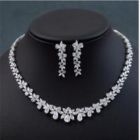 CLEAR FAMOUS BRAND BRILLIANT CRYSTAL ZIRCON EARRINGS AND NECKLACE JEWELRY SET WEDDING DRESS ACCESSARIES