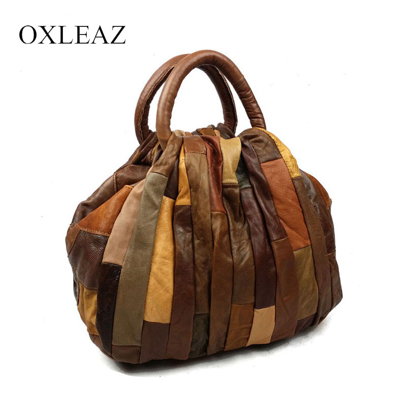 OXLEAZ Patchwork Women Leather Handbags Vintage Small Ladies Hand Bags Girls Soft Genuine Leather Shoulder Bag