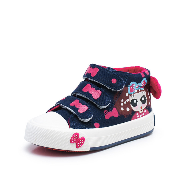 2017 Autumn Children Shoes Girls Canvas Shoes Lovely Bow Breathable Kids  Casual Shoes Fashion High Top 1a15327ca7bf
