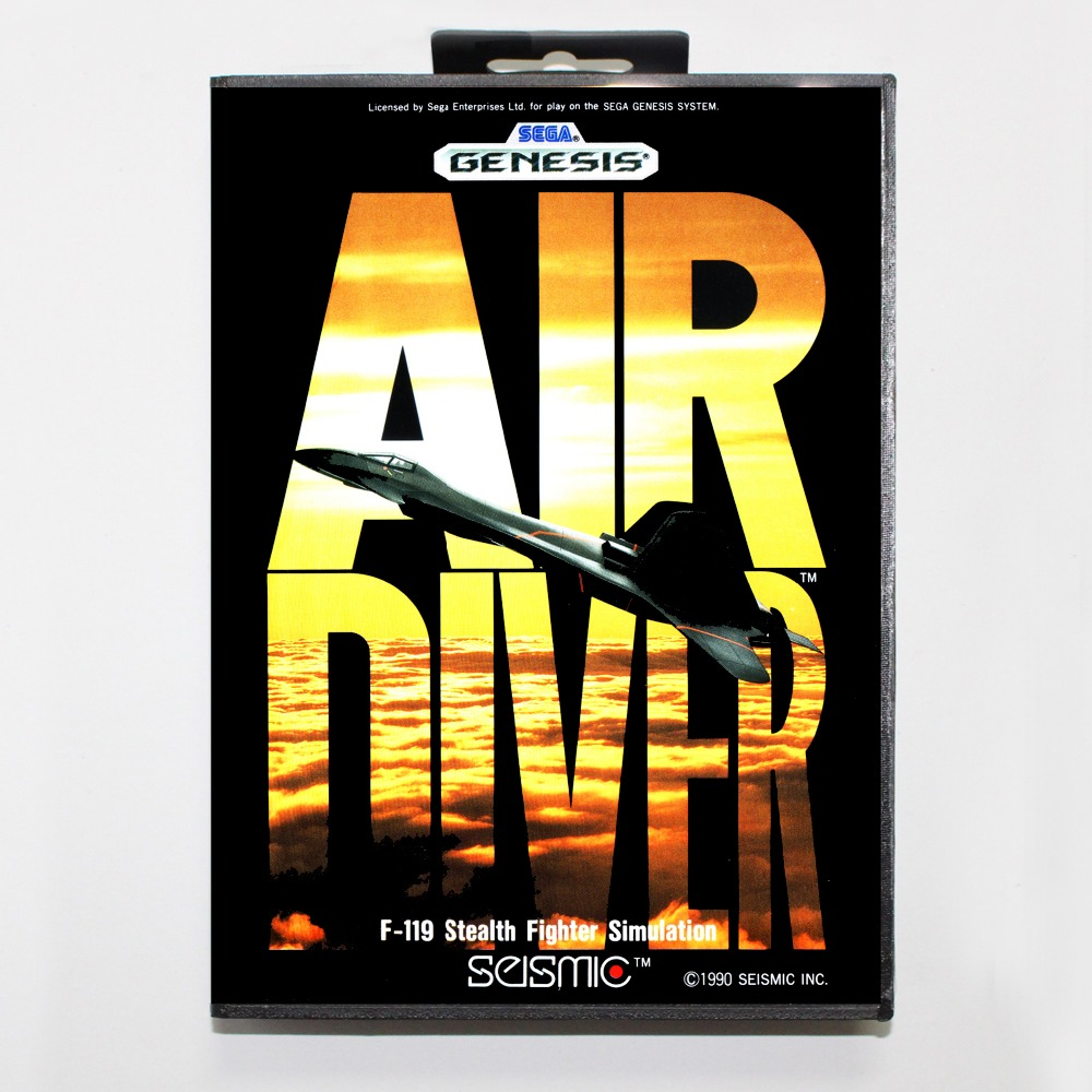 New 16 bit MD game card - air diver with Retail box For Sega genesis system