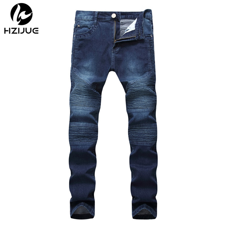 HZIJUE NEW men Biker jeans ripped denim slim motorcycle pant men classic rap hip hop skinny casual winter stretch jeans men blue men s cowboy jeans fashion blue jeans pant men plus sizes regular slim fit denim jean pants male high quality brand jeans