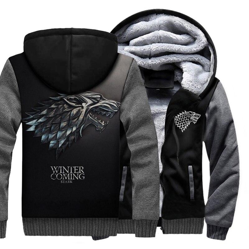 Game Of Thrones House Stark/Targaryen/Lannister sweat à capuche pour homme Raglan 2019 hiver chaud polaire épais vestes hommes Sweatshirts 3D