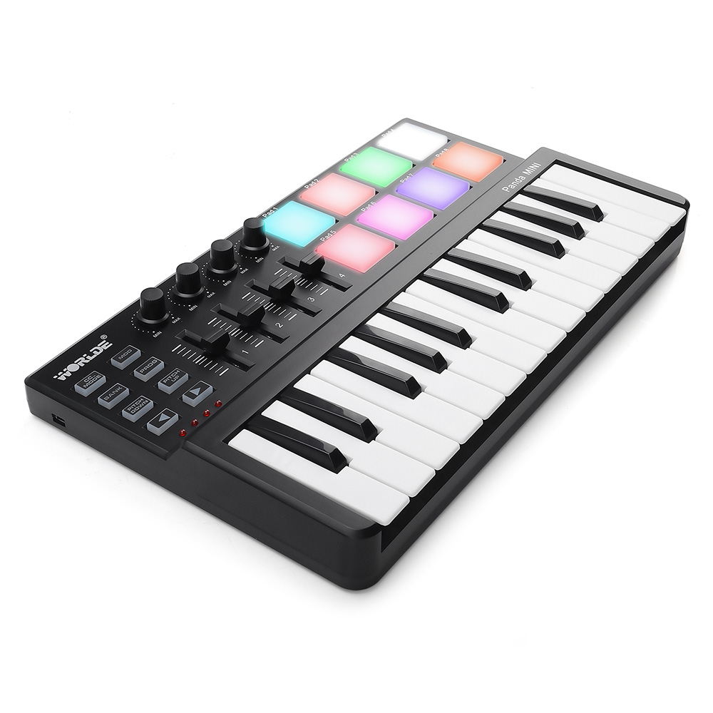25 key usb midi keyboard controller with 8 drum pad in electronic organ from sports. Black Bedroom Furniture Sets. Home Design Ideas