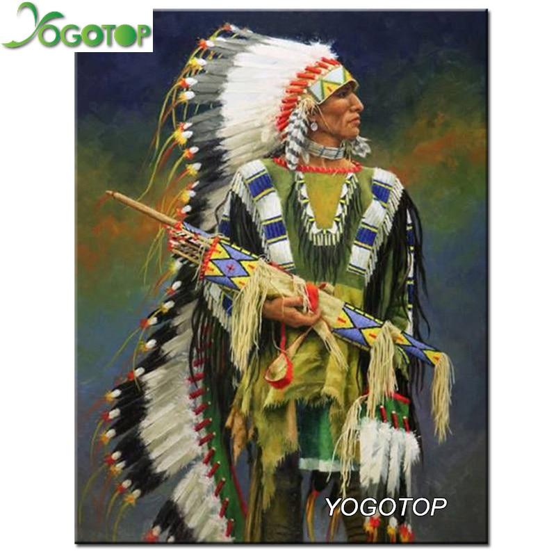 YOGOTOP 5D Diamond Embroidery Indians Diy Diamond Painting Cross Stitch Full Diamond Mosaic Crafts Kits Needlework ZB307