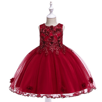 2019 A-Line  Dark Red Lace Appliques  Girls Pageant Dresses First Communion Dress Little Girls Evening Party Gowns little flower girl dresses crew neckline with collar lace appliques a line white little girls first communion pageant dress 2017