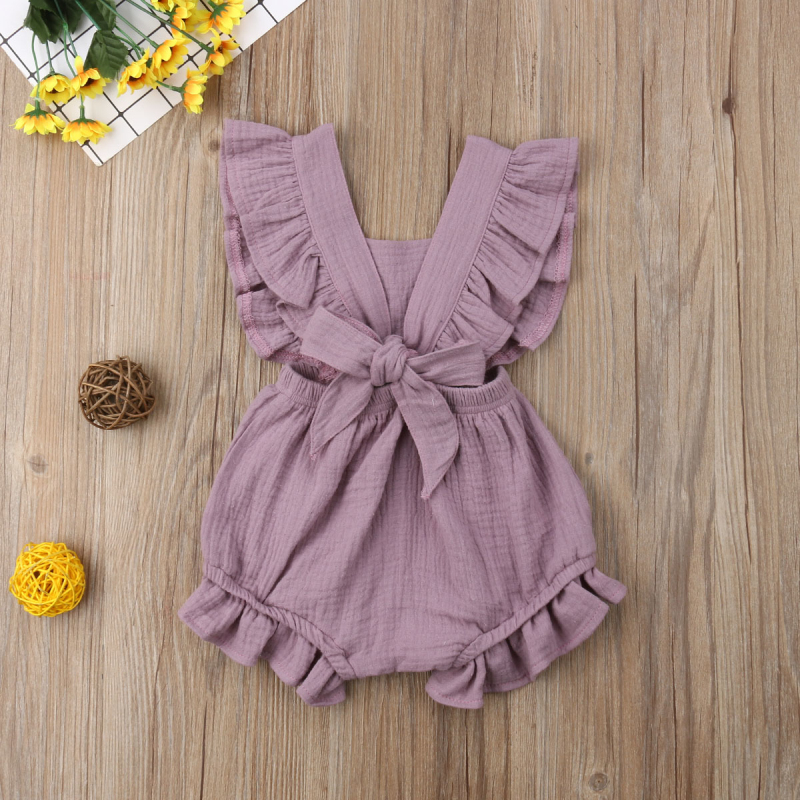 HTB1mR85aE rK1Rjy0Fcq6zEvVXaB 6 Color Cute Baby Girl Ruffle Solid Color Romper  Jumpsuit Outfits Sunsuit for Newborn Infant Children Clothes Kid Clothing