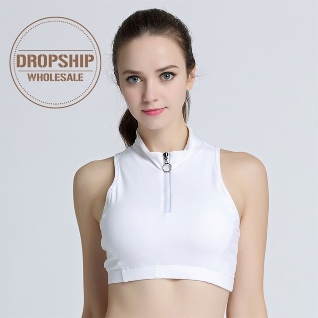 a3d62fb9f1752 High Neck Sport Crop Top Yoga Tank Tops Sexy Zipper Fitness Push up Bra  Solid Gym Women Running Shirt Workout Vest Plus Size
