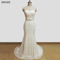Vestidos De Novia White Lace Mermaid Cheap Wedding Dresses 2017 Sash Sweetheart Lace Up Back Wedding
