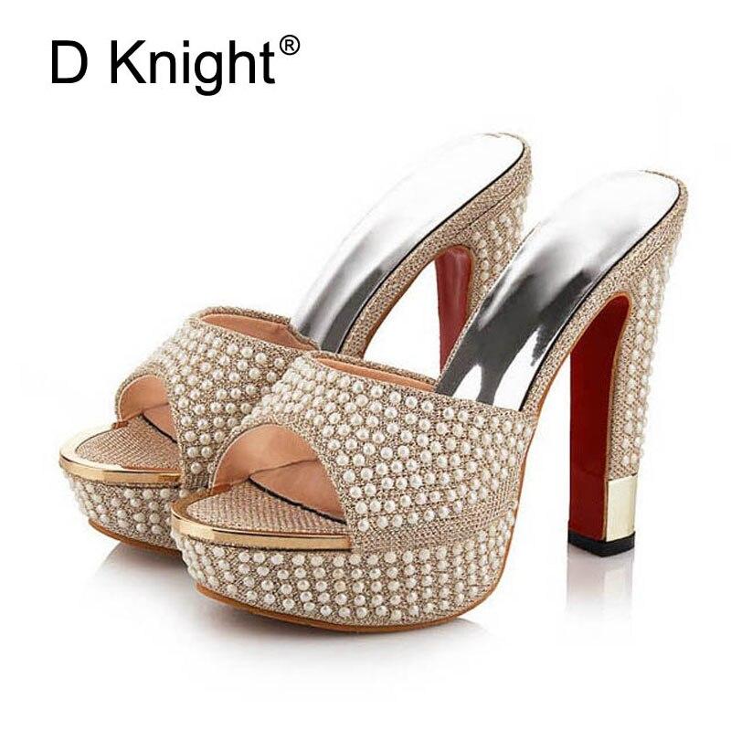 Nuevo 2018 Plataforma de lujo Tacones altos Mujer Zapatillas Cadena - Zapatos de mujer - foto 1