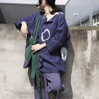 2018 primavera casual algodón Lino pullover mujeres vintage impresión del o-cuello camisa suelta tie Dye círculo retro Lino Tops más tamaño